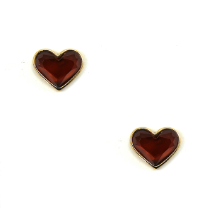Earring 1153b 50 It's Sense stud gem heart earrings deep red