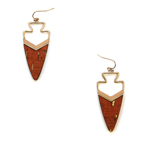 Earring 2425f 50 It's Sense arrowhead cork earrings orange
