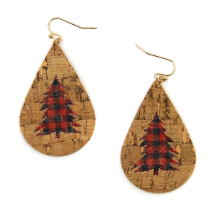 Christmas Earring 054a tear drop buffalo plaid christmas tree