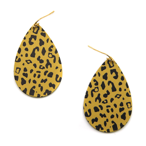 Earring 352 50 It's Sense tear drop metal plate leopard earrings brown