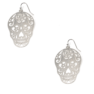 Earring 1562b 50 It's Sense Sugar Skull Earrings Calavera silver