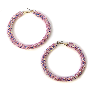 Earring 581a 50 It's Sense glitter hoop earrings lavender