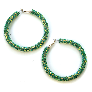 Earring 2688 50 It's Sense glitter hoop earring sapphire green