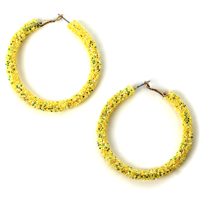 Earring 573l 50 It's Sense glitter hoop earrings yellow