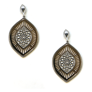 Earring 1581g 50 It's Sense filigree oval drop stud earrings silver