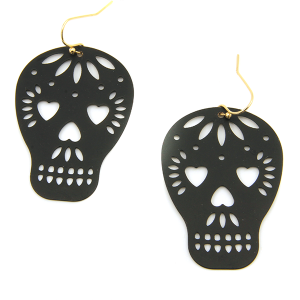 Earring 1347f 50 It's Sense sugar skull calavera earrings black