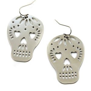 Earring 1358a 50 It's Sense sugar skull calavera earrings silver