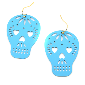 Earring 1352i 50 It's Sense sugar skull calavera earrings turquoise