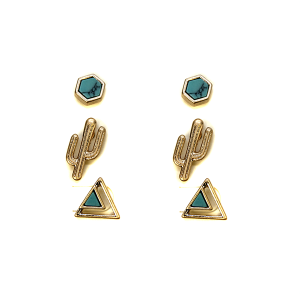Earring 604a 50 It's Sense 3 set stud cactus earrings semi precious turquoise