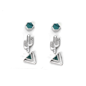 Earring 603k 50 It's Sense 3 set stud cactus earrings semi precious silver turquoise