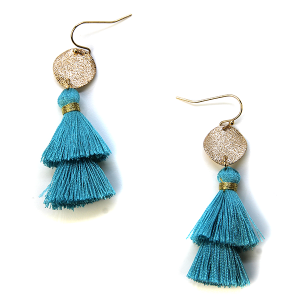 Earring 732a 50 It's Sense tassel earrings turquoise