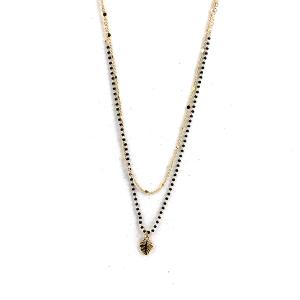 Necklace 1707 50 It's Sense double layer leaf bead necklace black