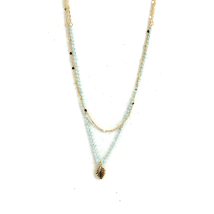 Necklace 1305 50 It's Sense double layer leaf bead necklace turquoise