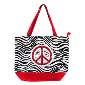 cs 520 zebra peace sign tote bag red