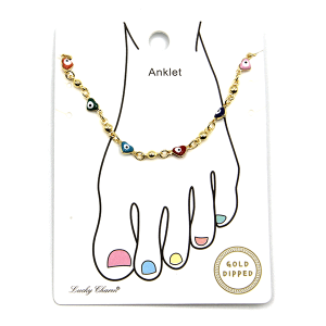 Anklet 017a 54 Lucky Charm chain evil eye heart multi gold