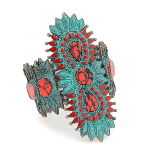 Bracelet 315a 58 Marvel stretch tribal spike bangle cuff patina red