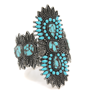 Bracelet 383c 58 Marvel stretch tribal spike bangle cuff turquoise