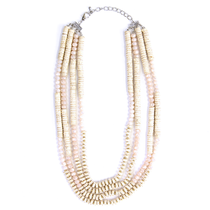 (Necklace 1916 58 C&C) Multi bead layer necklace ivory