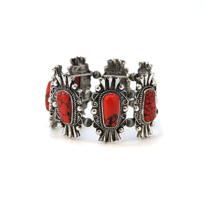 Bracelet 160a 58 Marvel navajo bracelet stone link stretch red