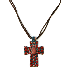 Necklace 1071 58 Marvel string cross necklace navajo patina red