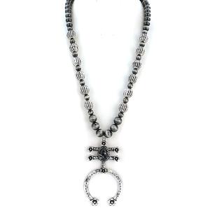 Necklace 1087i 58 Tanie bead arc stone necklace gray black