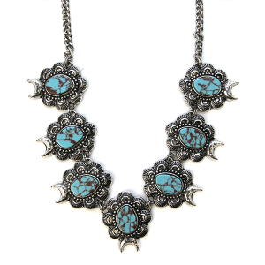 Necklace 516b 58 Tanie Navajo Necklace Concho Turquoise Link stone