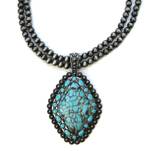 Necklace 518b 58 Tanie Navajo Necklace Concho Turquoise stone