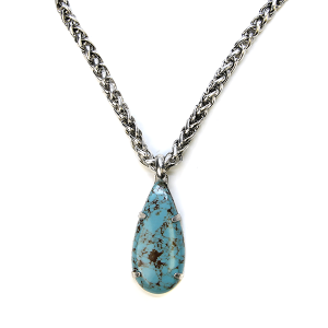 Necklace 493a 58 Tanie snake chain tear drop navajo necklace turquoise stone