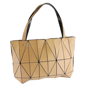 YI 6010 geometric shoulder bag brown