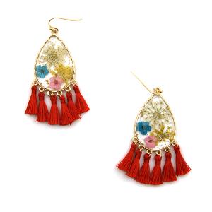 Earring 3050b 60 LuLu Lala tear drop floral tassel earrings clear red