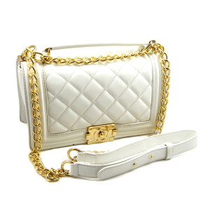 Caleesa quilted leather shoulder bag crossbody 6240 white