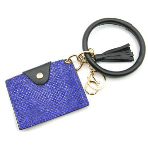 Keychain 070d 63 rhinestone card holder wristlet blue