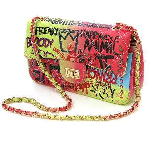 Caleesa Grafiti Print Multicolor Rainbow Crossbody 6464