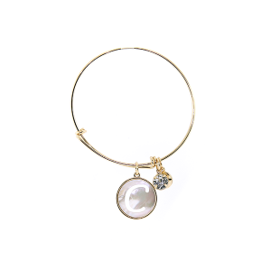 Bracelet 108a 64 Isles & Stars mother pearl nacre letter bracelet - C