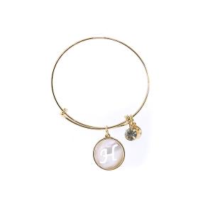 Bracelet 205a 64 Isles & Stars mother pearl nacre letter bracelet - H