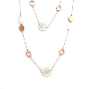 Necklace 1068b 64 Isles & Stars contemporary modern long necklace rose gold white