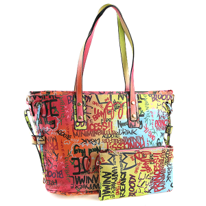 Caleesa Graffiti-D Print Multicolor zipper tote 6523 multi