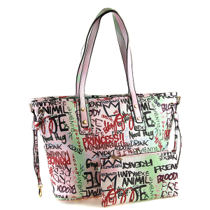 Caleesa Graffiti-D Print Multicolor zipper tote 6523 pink green