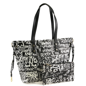 Caleesa Graffiti-D Print Multicolor zipper tote 6523 black white
