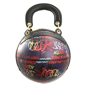Caleesa Graffiti-D print 6545 round sphere satchel multi black