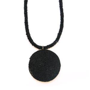 Necklace 220c 65 Core circle seed bead necklace single black