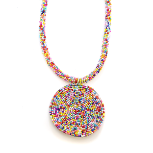 Necklace 210a 65 Core circle seed bead necklace single multicolored