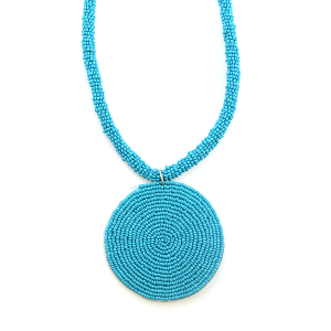 Necklace 308d 65 Core circle seed bead necklace single turquoise