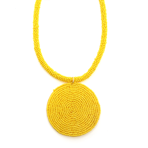 Necklace 027a 65 Core circle seed bead necklace single yellow