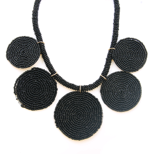 Necklace 1056 65 Core circle seed bead necklace black