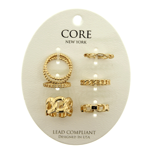 Ring 016b 65 assorted 6 set gold