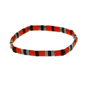 Bracelet 791b 65 stretchable bead multi red