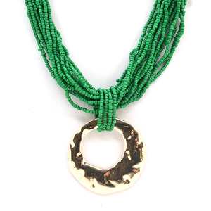 Necklace 625 65 Core string seed bead necklace collar green