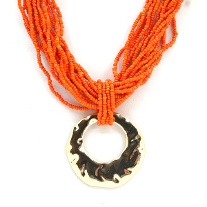 Necklace 677 65 Core string seed bead necklace collar orange