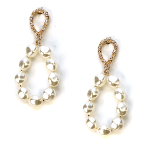 Earring 259c 65 Core stud bead earrings hoop gold ivory